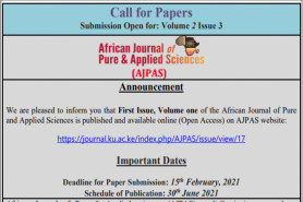 African Journal of Pure and Applied Sciences-AJPAS 2020