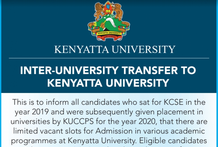 KUCCPS Students Inter-University Transfer to Kenyatta University